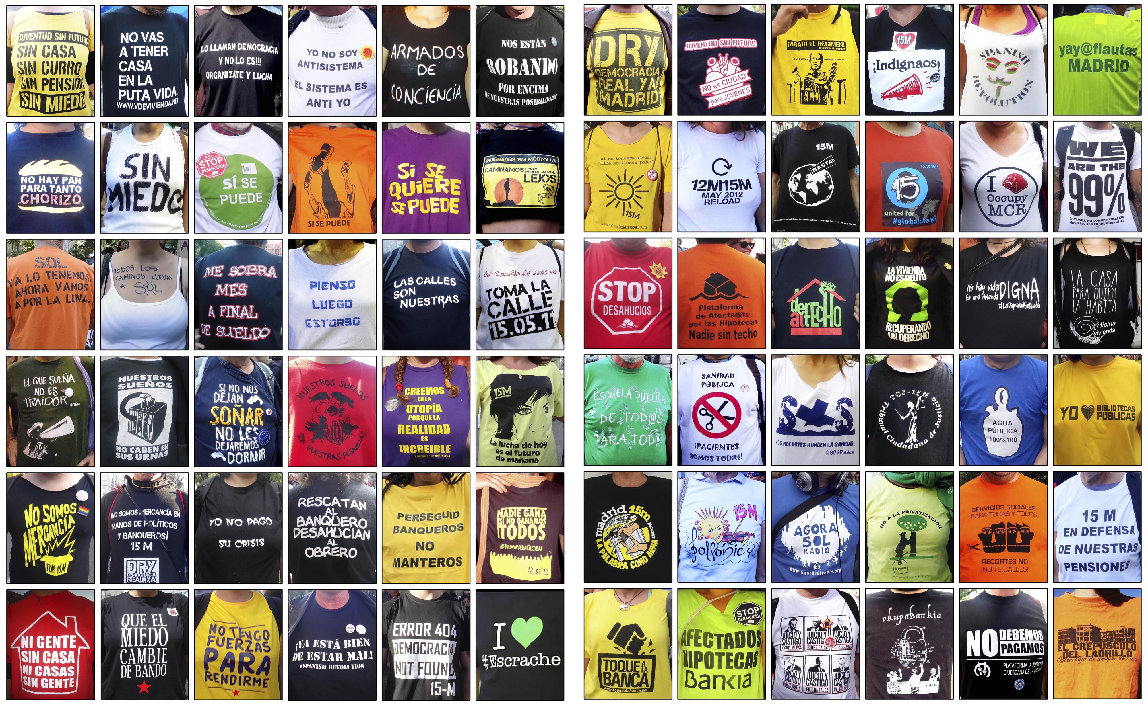 72 Camisetas del movimiento 15-M, en su 7º aniversario.