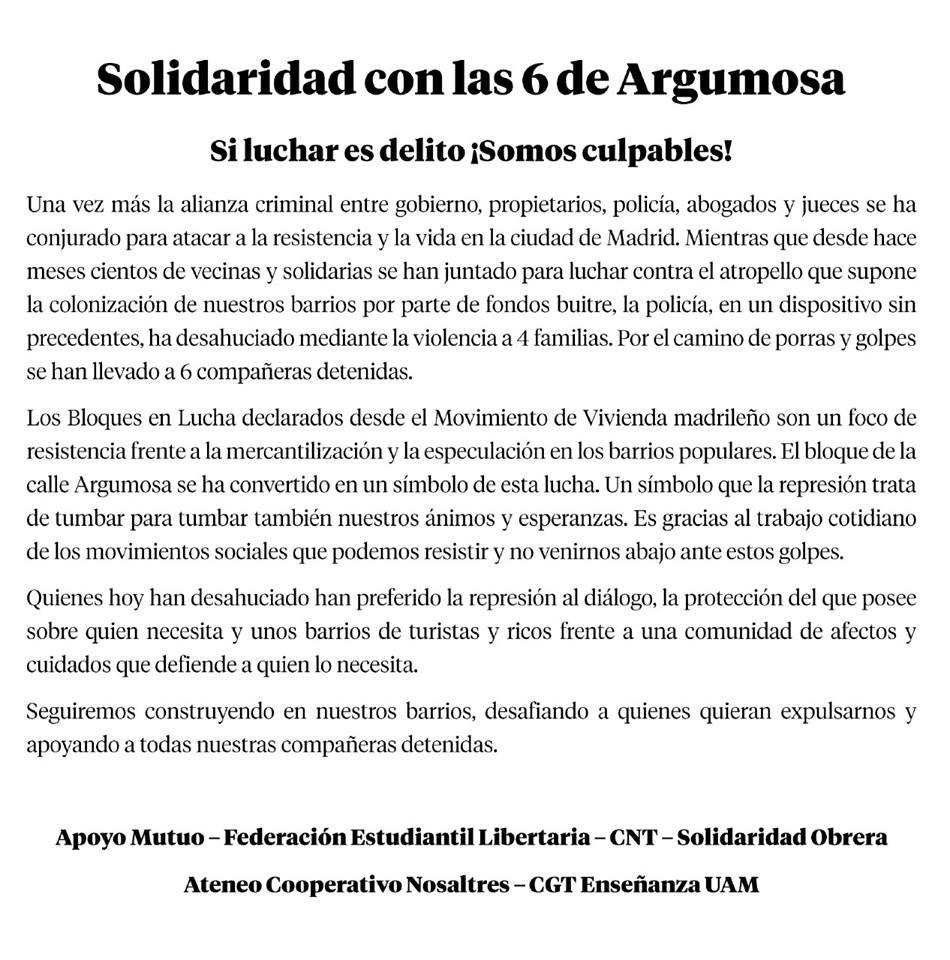 Solidaridad con las 6 de Argumosa